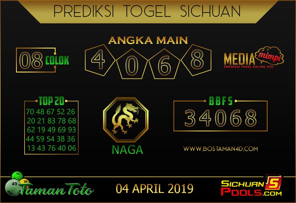 Prediksi Togel SICHUAN TAMAN TOTO 04 APRIL 2019