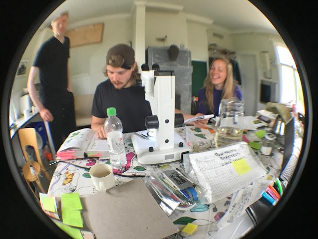 Kolme tiimiläistä, mikroskooppi ja paljon muuta toimistotavaraa.