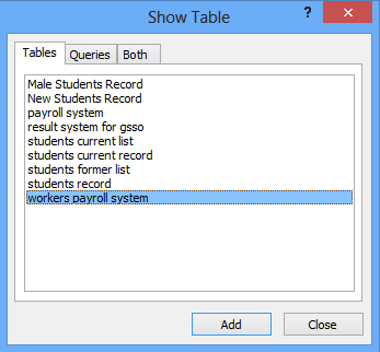 Select your data source table or query