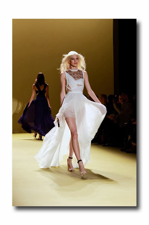 0dff47920d Off white chiffon gown with asymmetrical skirt