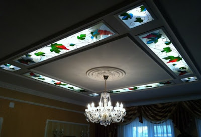 gypsum board false ceiling with stained glass panels