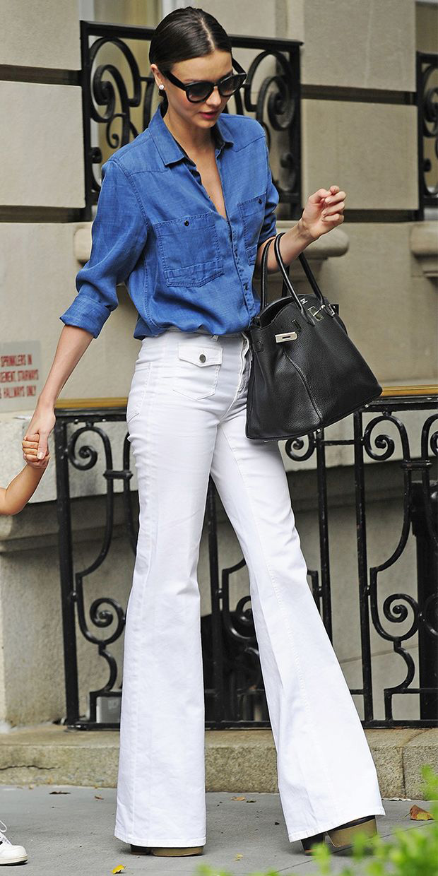 Miranda Kerr wearing flared jeans, people and styles, spring trend, street style, pinterest street style
