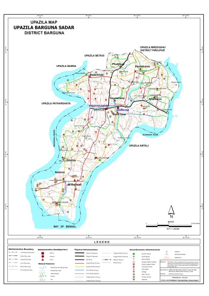 Barguna Sadar Upazila Map Barguna District Bangladesh