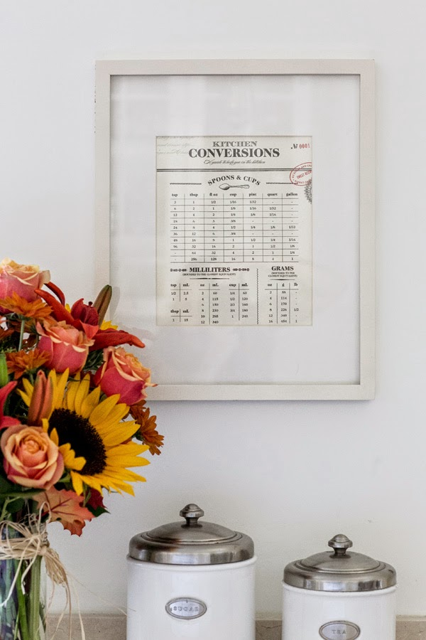 A beautiful cooking measurement conversion chart printable from Sugar and Charm : Lindsay Eryn