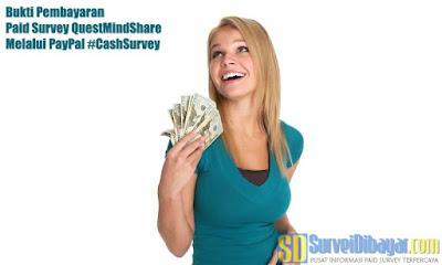 Bukti Pembayaran Paid Survey Quest MindShare Melalui PayPal | SurveiDibayar.com