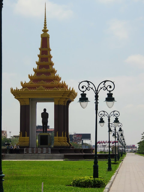 Royal statue in the park in Phnom Penh, Cambodia