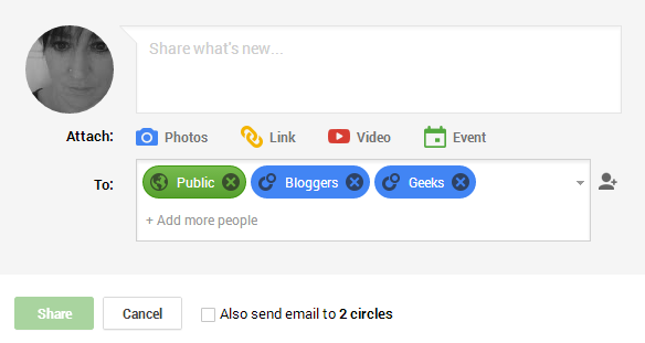 Google Plus update box - getting started on Google Plus