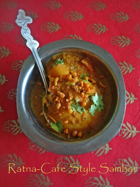 Ratna-Cafe Style Sambar | Pressure Cooker Sambar Recipe