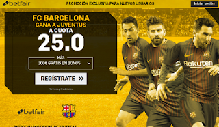betfair supercuota 25 victoria de Barcelona a Juventus champions 22 noviembre