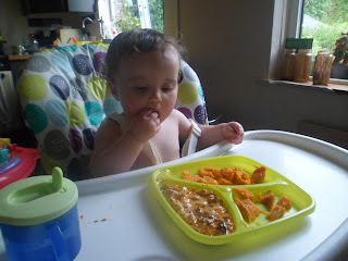 Baby led weaning baby eating paprika Chicken and sweet potato