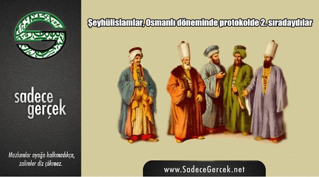 Şeyhülislamlar, Osmanlı döneminde protokolde 2. sıradaydılar