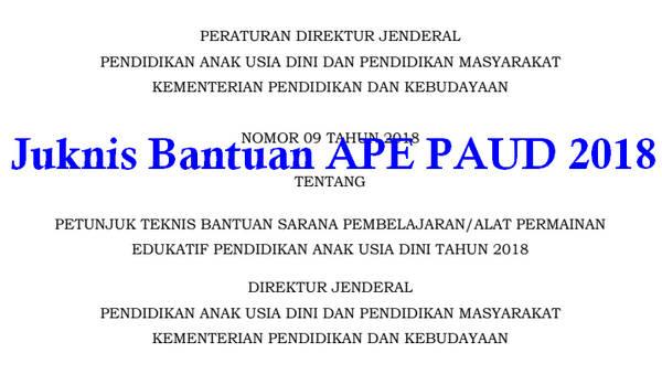 Juknis Bantuan APE PAUD 2018