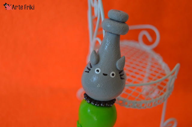 aguja crochet totoro ganchillo studio ghibli clay hook aguja ganchillo fimo arcilla polimerica kawaii cute susuwatari crochet hook