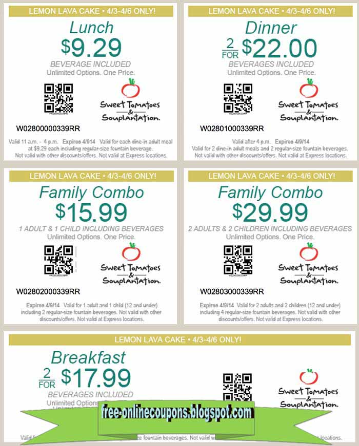 Sweet Tomatoes Coupons. Find the best of Sweet Tomatoes promo codes, coupons, Top Brands & Savings · + Coupons Available · Online Coupon Codes FreeTypes: Specialty Stores, Grocery Stores, Factory Outlets, Retail Chains, Restaurants.