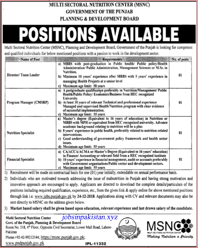 Advertisement for Planning & Development Department Jobs