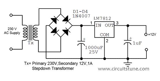 12v Regulated Power Supply Circuit Diagram | CircuitsTune