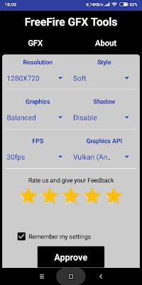 imagens do app gfx tools configurado para free fire