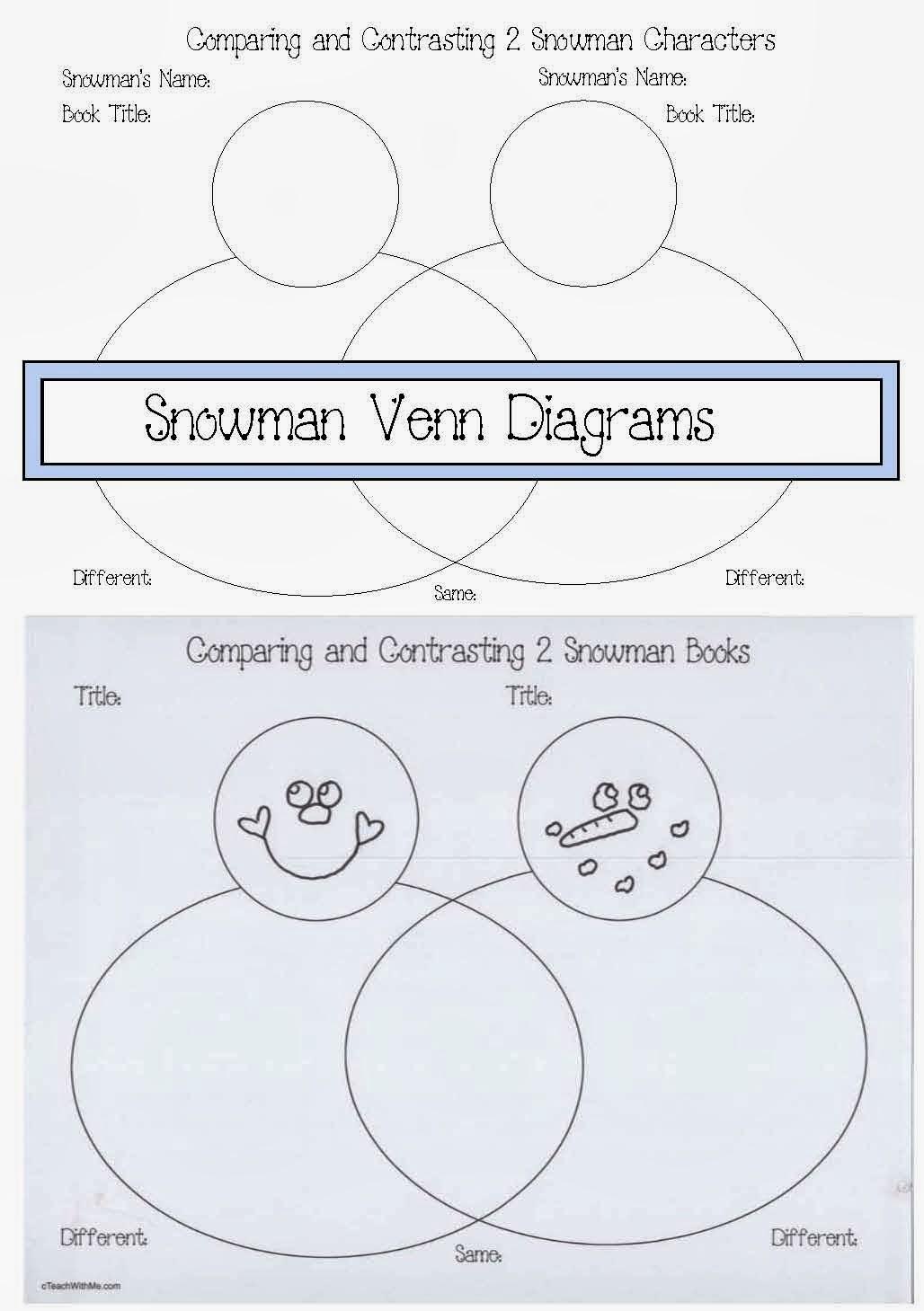 Snowman Venn Diagrams | Christmas school, Christmas ... |Snowmen Venn Diagram