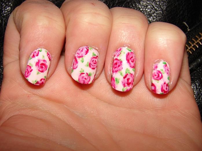Kawaii Nail Art: Vintage Pink Roses