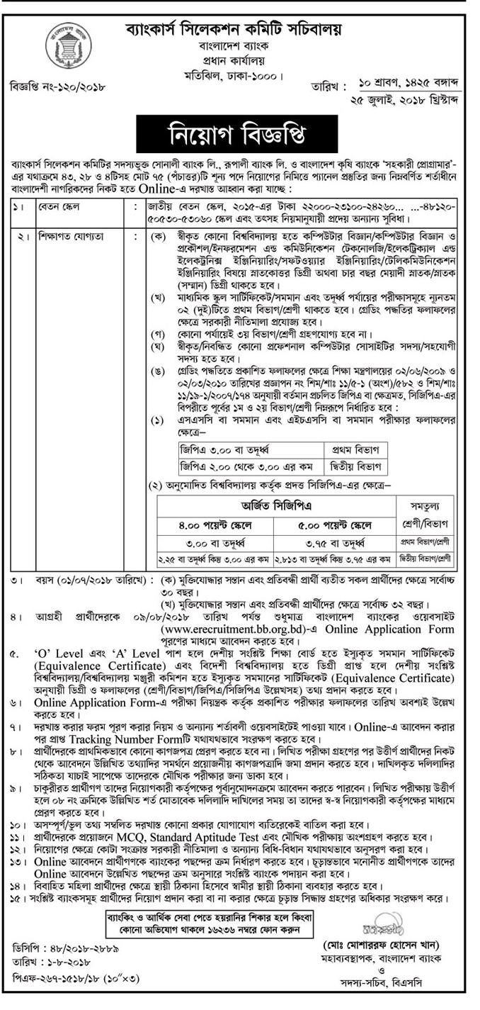 Bankers´Selection Committee Secretariat(BSCS) Assistant Programmer Recruitment Circular 2018