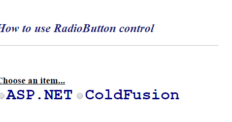 how to use multiple radio buttons in asp net