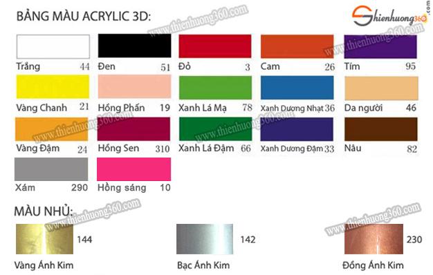 Bảng màu ACRYLIC 3D