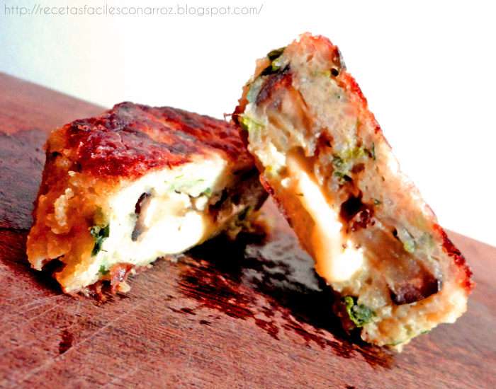 hamburguesas vegetarianas de arroz berenjena y queso