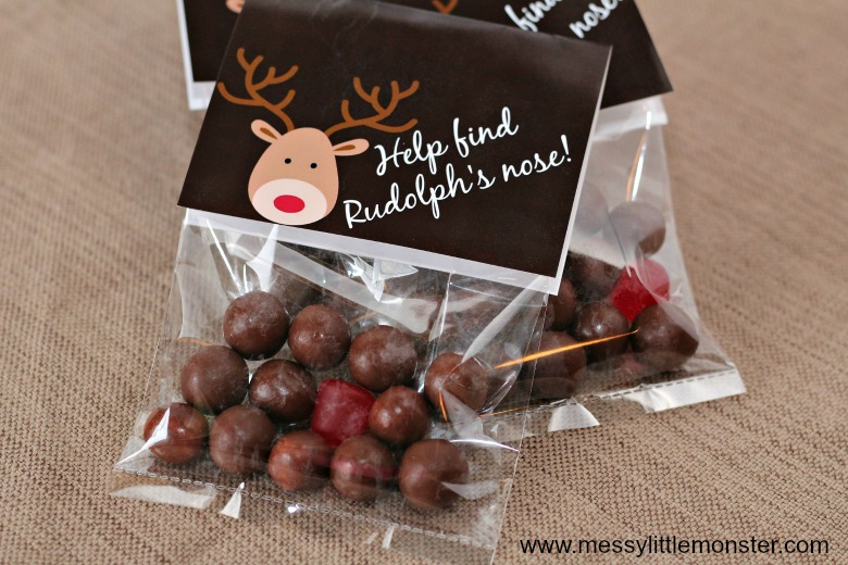 Rudolf reindeer treats. Free printable Christmas Treat Bags labels.