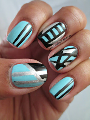 Sally Hansen Blue-Away, Insta-Dri, Orly Dazzle, striping, striping brush, racing stripes, sky blue, baby blue, silver, black, nails, nail art, nail design, mani
