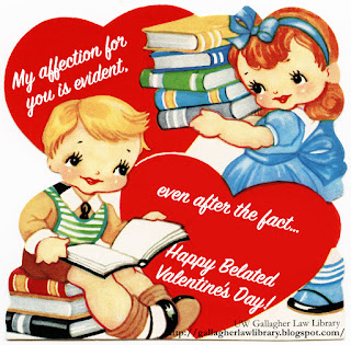 "Vintage valentine, with boy sitting on stack of books in the lower left corner and reading one, and a girl facing him holding another stack of books, taking up the right side of the valentine, but mostly the top right corner. There is a red heart in the top left of the valentine, and one on the bottom right. The top heart reads ""My affection for you is evident,"" and the bottom heart reads ""even after the fact… Happy Belated Valentine's Day!"""
