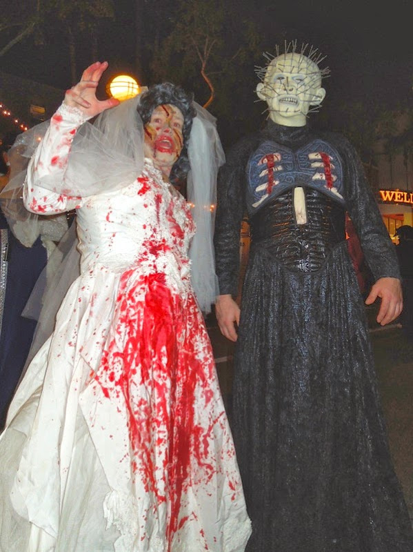 Zombie bride Hellraiser Pinhead costumes West Hollywood Halloween Carnaval