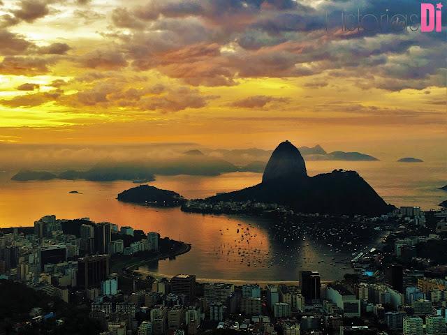 Detalhe da enseada no nascer do sol no Mirante Dona Marta