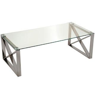 mesa baja de sofa en acero y cristal