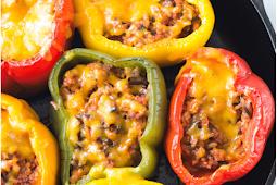 ground turkey stuffed peppers #diet #healthyrecipe