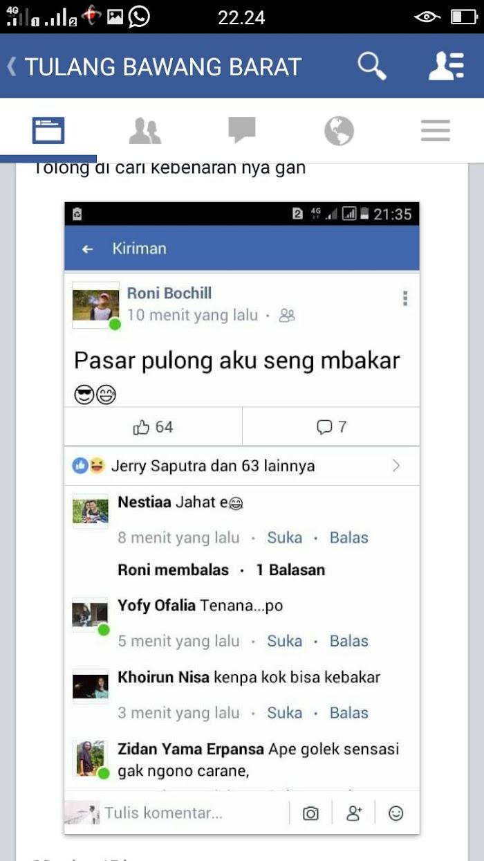 Status Facebook Boechil alias Roni Dibully Netizen