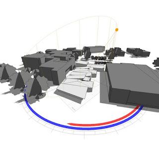 Grupo de edificios con diagramas del paso del sol superpuestos