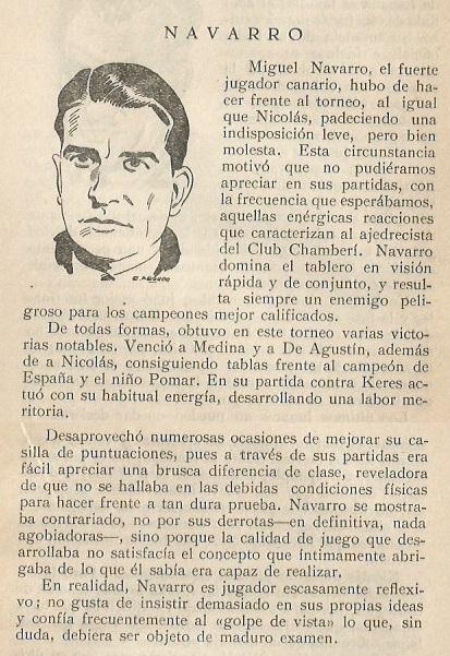 Recorte sobre Miguel Navarro en el libro Gran Torneo Internacional Madrid 1943