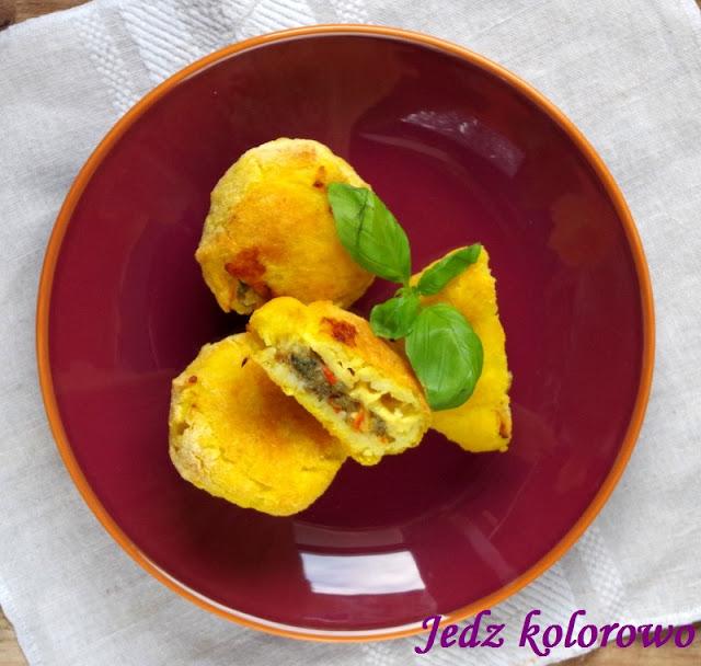 arancini - wegańskie kulki ryżowe pieczone - nietolerancja histaminy