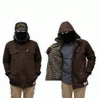 jaket parka brown canvas