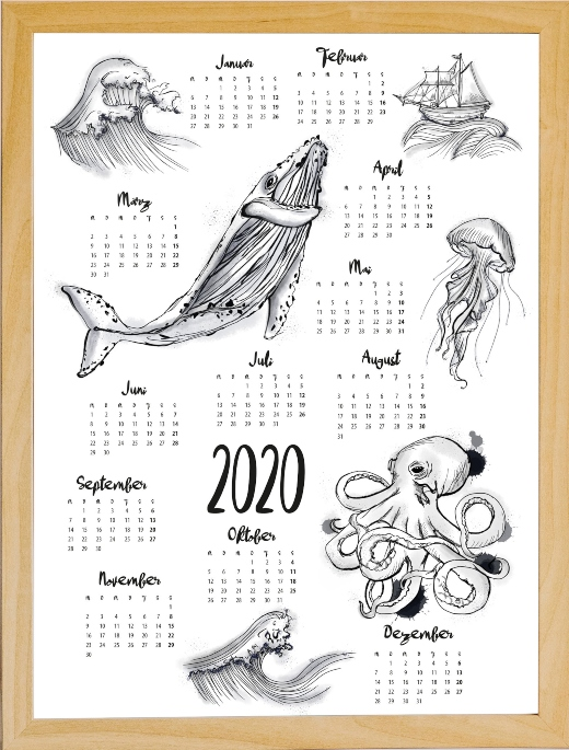 2020 Overview Wall Calendar Ocean Sea Life Illustration Art