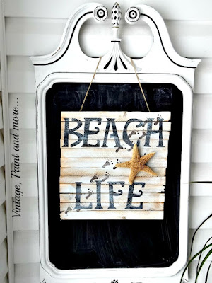 Vintage, Paint and more... Beach inspried porch with chalk painted mirror and DIY shim beach sign