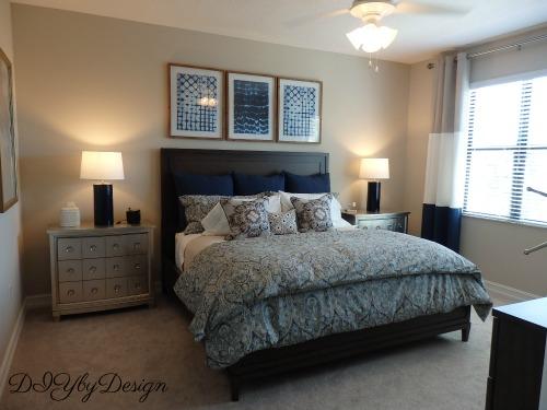 diy by design navy and beige master bedroom