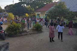 PB PMII Belajar dan Senam Bersama Siswa Korban Gempa Lombok
