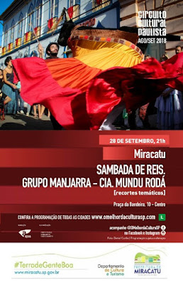 Circuito Cultural Paulista traz sambada de Reis para Miracatu