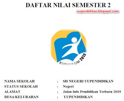Format Daftar Nilai SD/MI Semester 2 Kelas 6 K13 Revisi 2018
