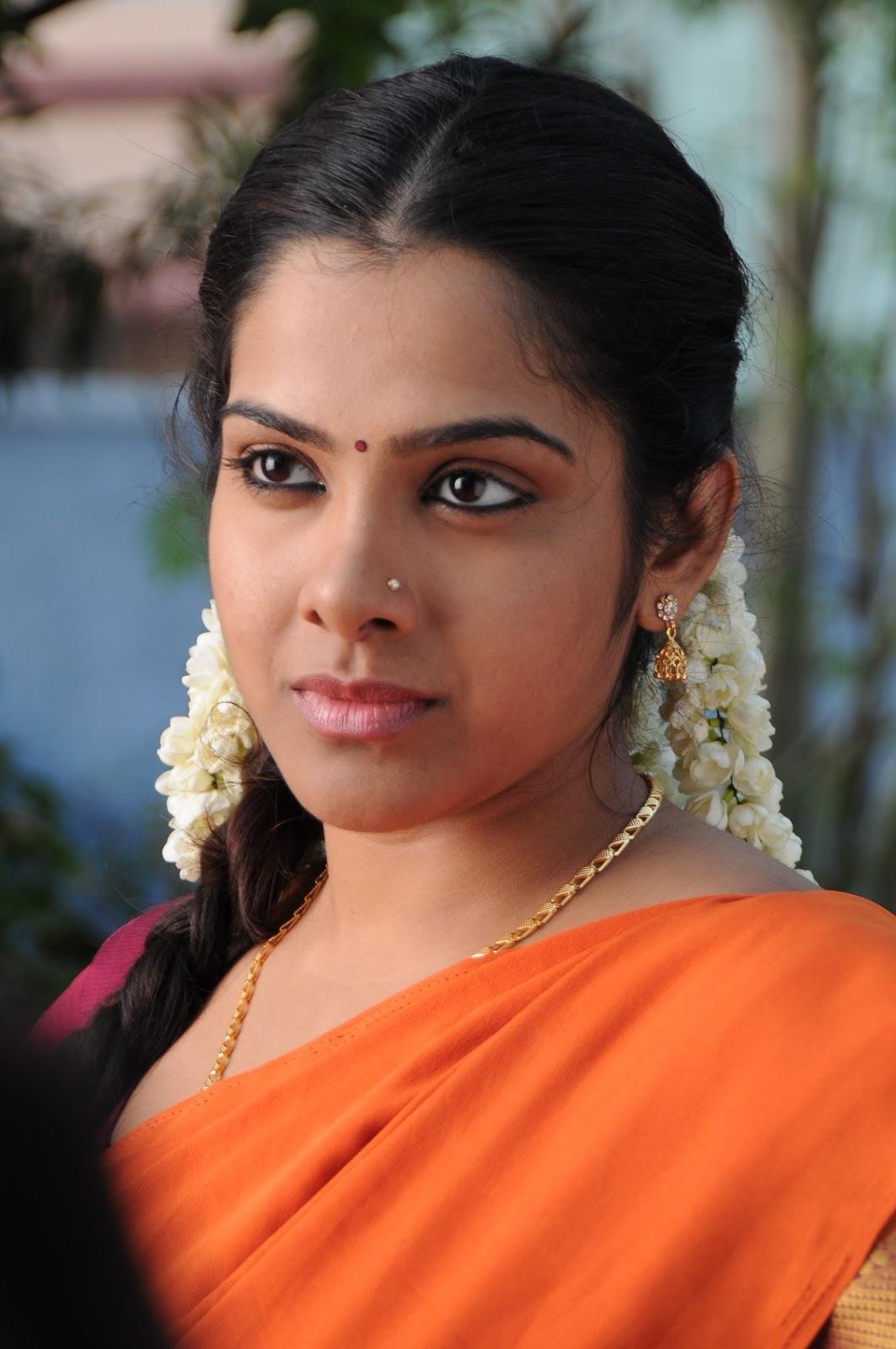 Actress Sandhya Latest Photos In Orange Saree