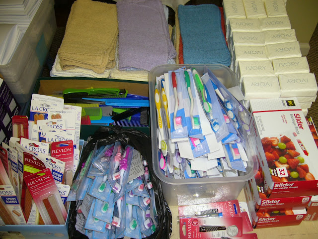 Packing hygiene supplies for an Operation Christmas Child shoebox packing party.