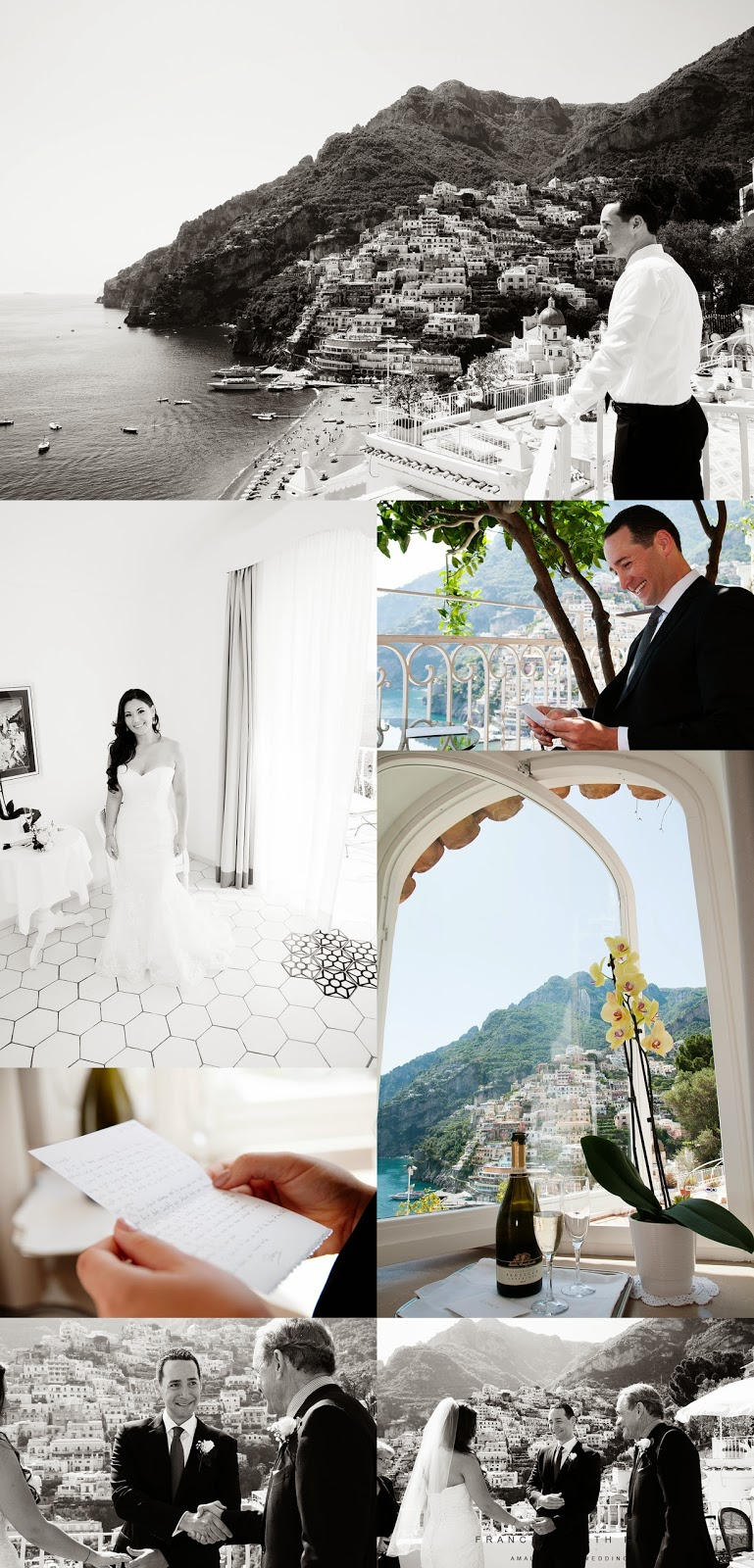 Bride and groom getting ready at Hotel Marincanto