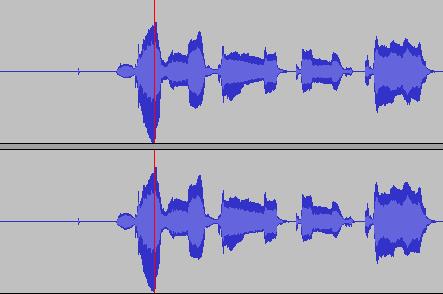 """""""Pik"""" na ścieżce dźwiękowej po jej normalizacji do 0,0dB"""