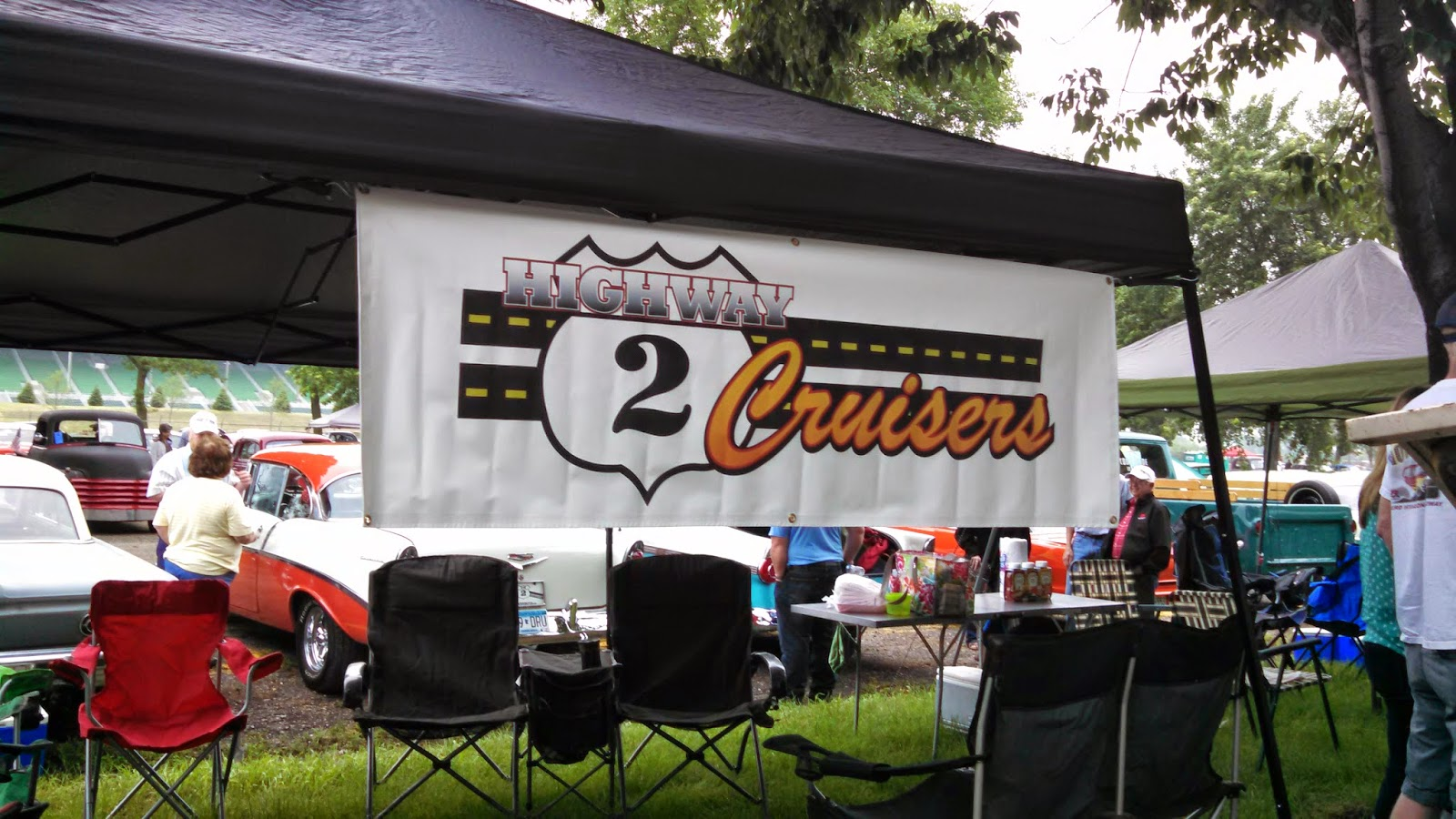 Hwy 2 Cruisers Banner at the Back to the 50s Car Show